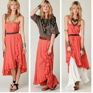 Salmon ruffle maxi skirt or dress high low hem